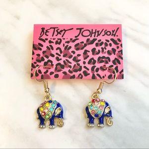 🎉 New Betsey Johnson Crystal Blue Elephant Earrings